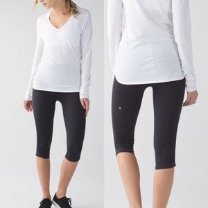 Lululemon In The Flow Crop II Size 12 Deep Coal